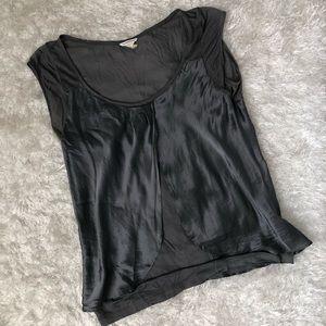 Club Monaco Silver Gray Silk Top Size M